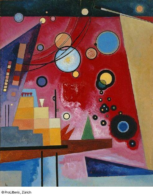 Schweres Rot, 1924 (Juli) Heavy Red Öl auf Karton, 58.7 x 48.7 cm Kandinsky nimmt 1922 seine Lehrtätigkeit am Staatlichen Bauhaus auf. Er beschäftigt sich in dieser Zeit mit Formenlehre und Farbtheorie. Die rote Farbe hatte für ihn eine grosse, fast zielbewusste Kraft und je nach Mischungsverhältnissen sehr unterschiedliche Wirkung. Geometrische Formen wie die schwebenden Kreise und die eckigen Flächen sind für seine Zeit am Bauhaus typisch.
