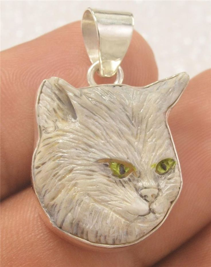 Hand Carved Cat Artist Painted Buffalo Bone 925 Sterling Silver Pendant