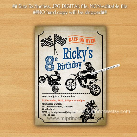 The 25 best Motorcycle party ideas – Motocross Birthday Invitations