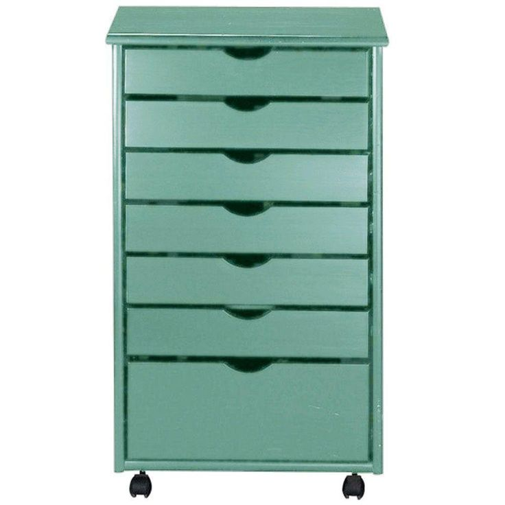 Home Decorators Collection 20 in. W Stanton Blue 6 + 1 Drawer Wide Storage Cart-0200510310 - The Home Depot
