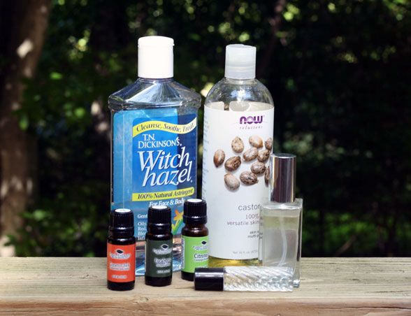 Mosquito and Tick Repellent  6 oz witch hazel  2 oz castor oil  5 drops cinnamon oil  15 drops eucalyptus oil  15 drops citronella oil  Combine and transfer into spray bottle. Be sure to shake well before each application. A standard plastic spray bottle is fine, but small perfume bottles also make excellent (and easy to carry) dispensers.