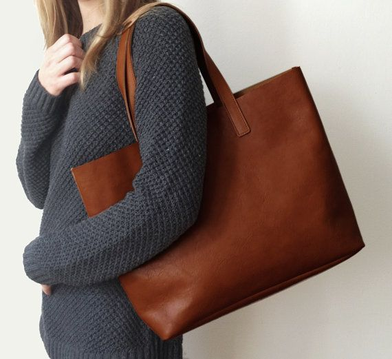 MIVO - Brown Leather Tote, Meyme bag, Brown Leather Bag, Shopping tote  €217.59 EUR