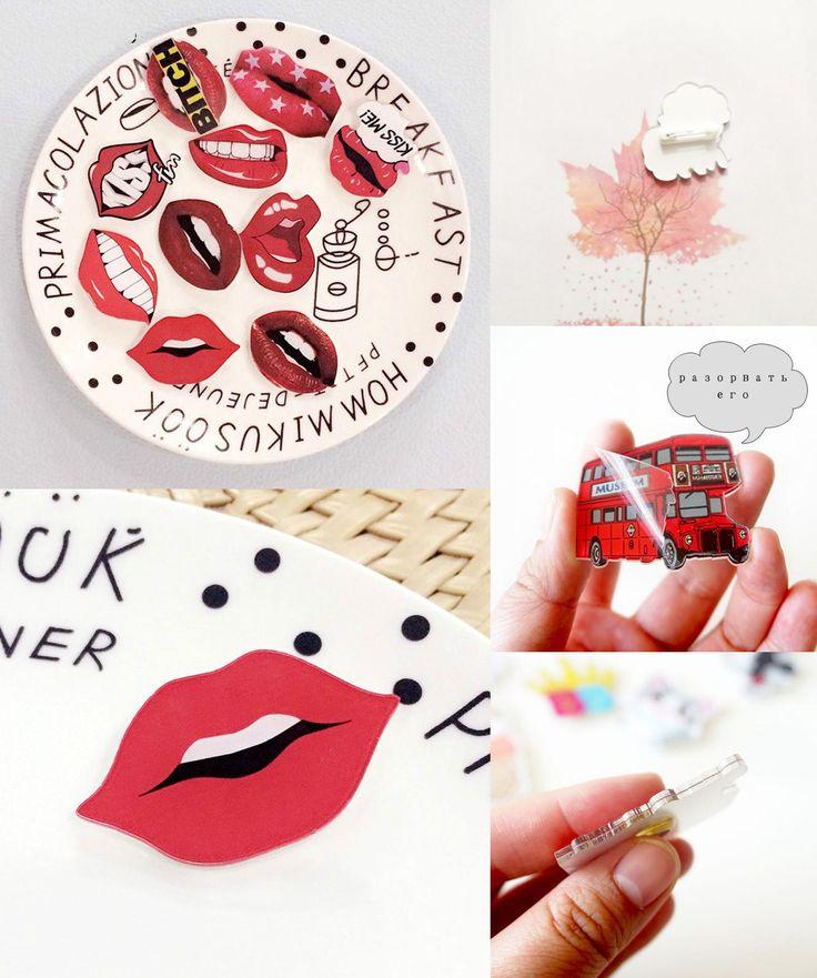 [Visit to Buy] 2 PCS Lips Badge Free Shipping Kawaii Lips Acrylic Badges Icons on Backpack Pin Icon Decoration Cartoon Lip Pins #Advertisement