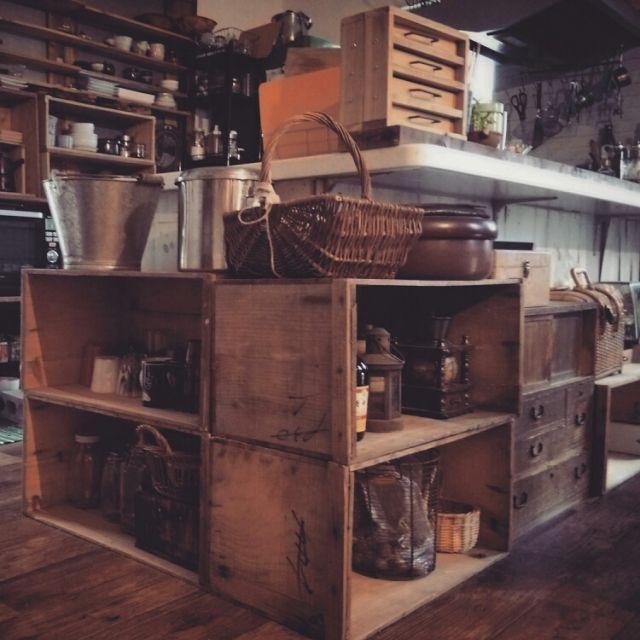 miyo1683さんの、リメイク,りんご箱,手作り,器,古道具,DIY,部屋全体,のお部屋写真