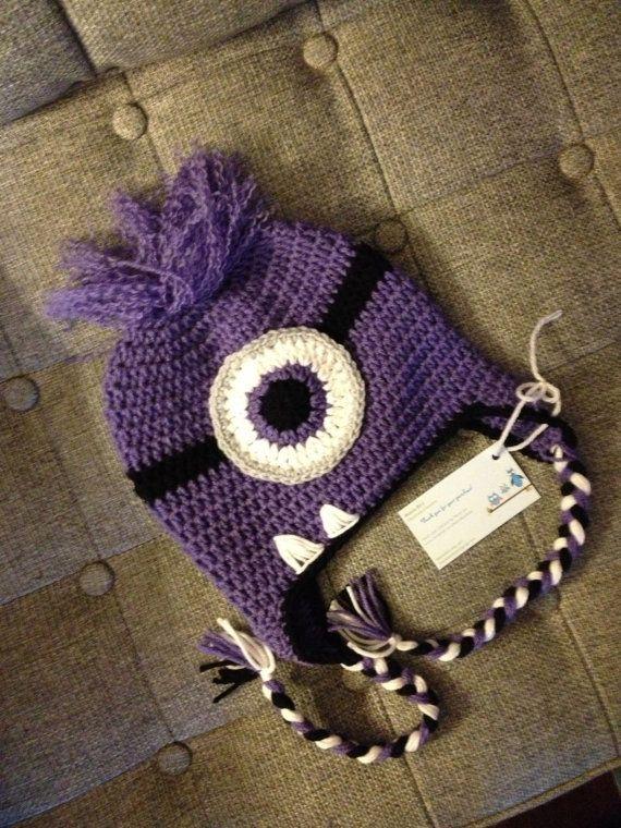 Evil Minion Crochet Baby Newborn Beanie Hat Made to by beaniebird, $20.00