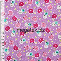Байка фланель байковая ткань для пеленок детская фланелевая сиреневая с разноцветн. мордочками ш.110