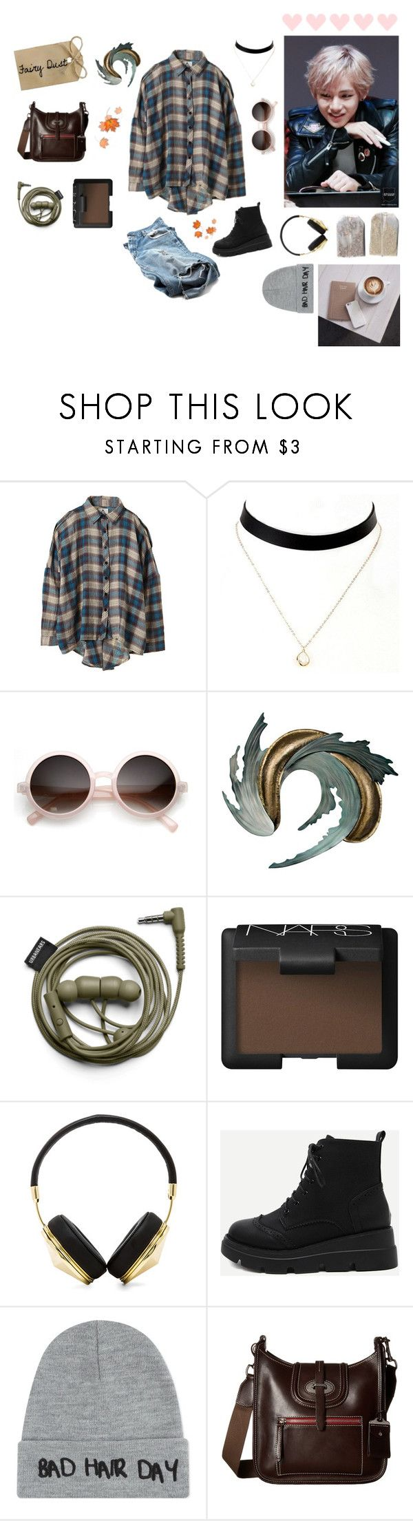 """• Kim taehyung •"" by rxvenclxw ❤ liked on Polyvore featuring UNIF, Retrò, Universal Lighting and Decor, NARS Cosmetics, Frends, WithChic, Local Heroes, Dooney & Bourke, autumn and KimTaehyung"