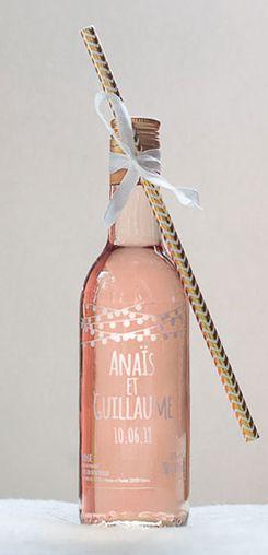 Mignonnette de rosé personnalisée mariage - modèle guirlandes #cadeaux #invités #vin #honneur