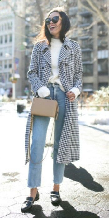 Ann Taylor   black and white gingham print drape coat   white sweater   straight leg faded denim jeans   loafers   black frame shades   beige box bag. Trench: Sonia Rykiel, Sweater: LOFT, Jeans: Acne Studios, Turtleneck: Uniqlo, Purse: Mark Cross, Loafers: Chanel, Sunglasses: Linda Farrow.