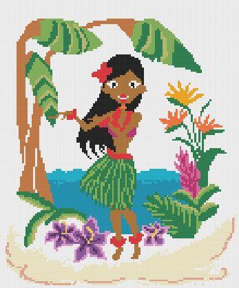 0 point de croix  femme  tahitienne  - cross stitch tahitian girl