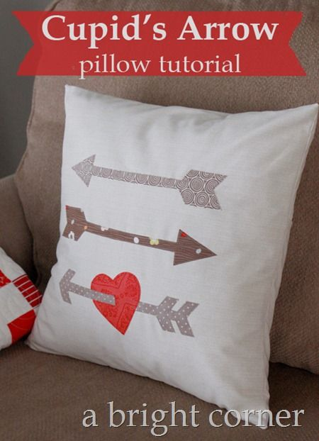 Cupid's Arrow pillow tutorial - this would be fast and easy!