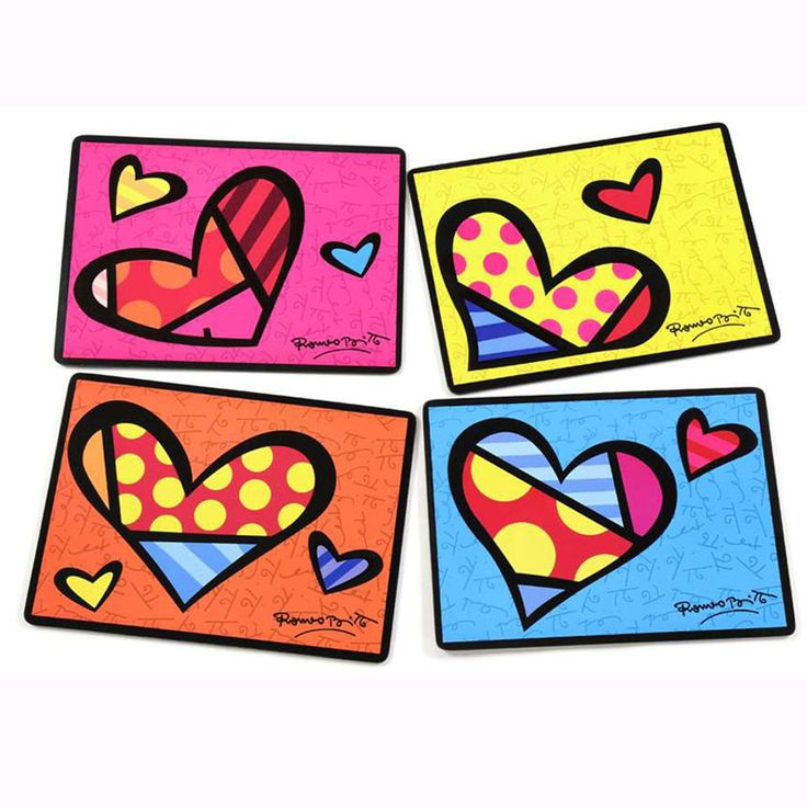 Britto Set Of 4 Heart Placemats With Cork Backs