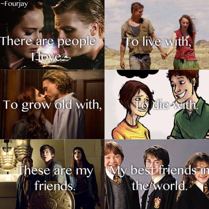 All the fandoms- the hunger games, the host, the mortal instruments, the fault in our stars,percy jackson and harry potter