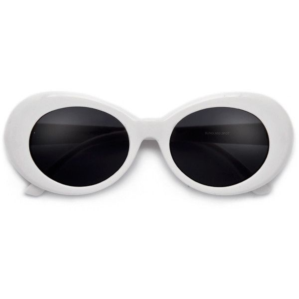 Vintage 50's Inspired Oval Cobain Sunnies (7 530 LBP) ❤ liked on Polyvore featuring accessories, eyewear, sunglasses, cat eye sunglasses, vintage wayfarer sunglasses, vintage cat eye sunglasses, vintage round glasses and round cateye sunglasses