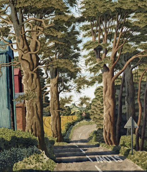 """simon palmer - """"no man's moor lane"""", watercolour with ink and gouache, nd"""