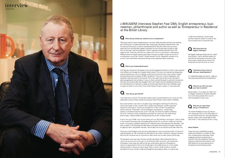 Interview with Stephen Fear, businessman and Ambassador for Business to the British Library.