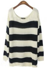 Black+White+Striped+Loose+Pullovers+Sweater+US$58.00