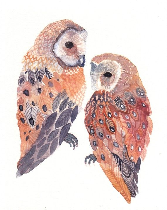 Two barn owls no 2 archival print
