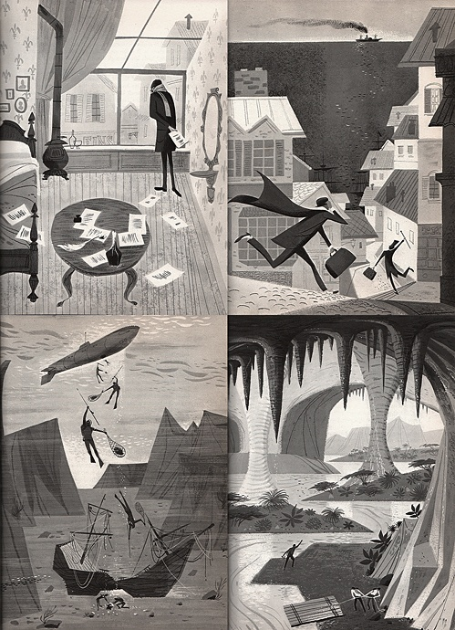 """Illustrations from the book """"Jules Verne: The Man Who Invented the Future"""" by Franz Born 