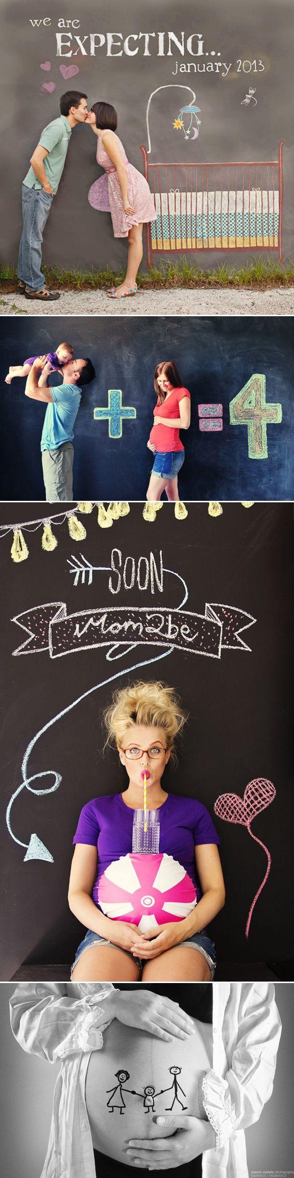 Fotos creativas para anunciar nacimiento