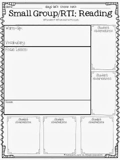 Free Reading Small Group/Intervention Lesson Plan