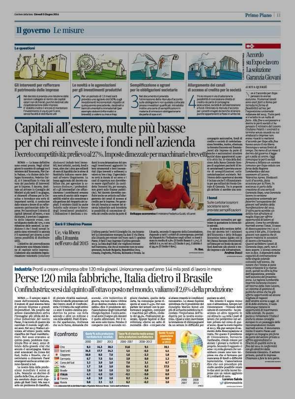 Perse 120 mila fabbriche, Italia dietro il Brasile Confindustria: scesi dal quinto all' ottavo posto nel mondo, valiamo il 2,6% della produz...