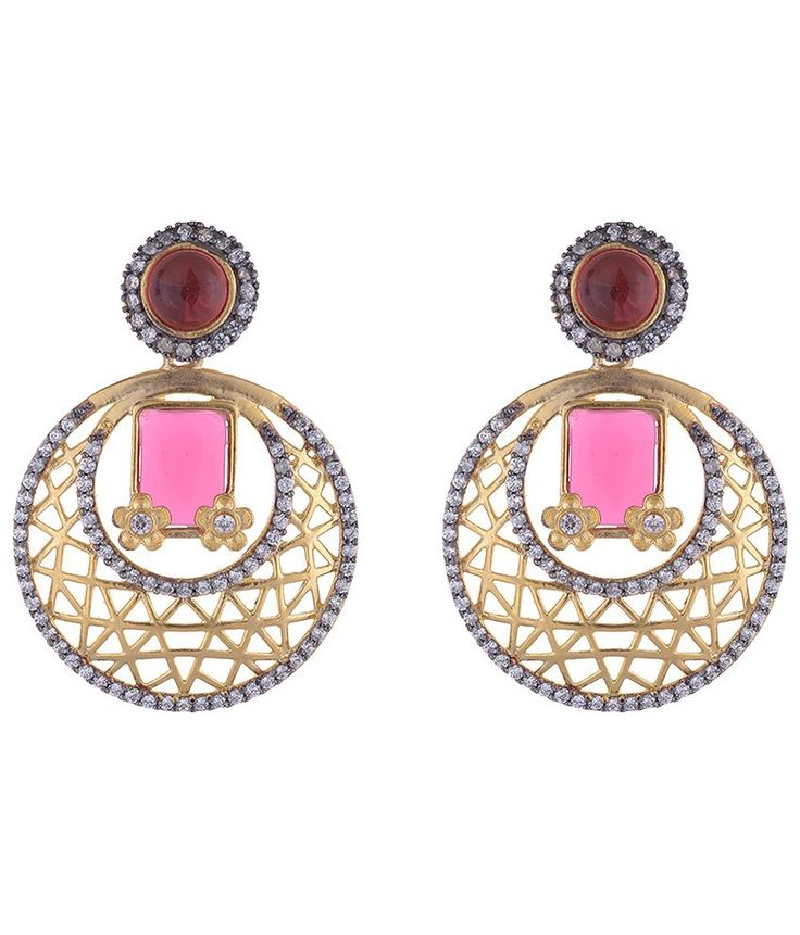 Buy The Jewelbox Designer Gold Plated Inlay Red Stone American Diamond