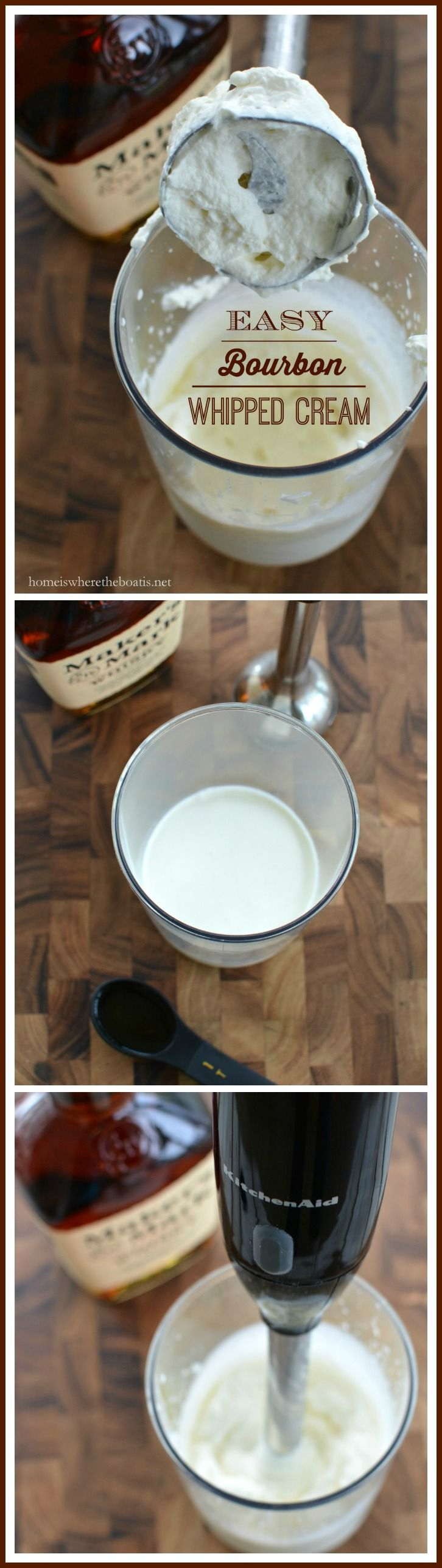 Bourbon Whipped Cream made quick and easy with your immersion blender! | homeiswheretheboatis.net #KentuckyDerby #recipe #easy
