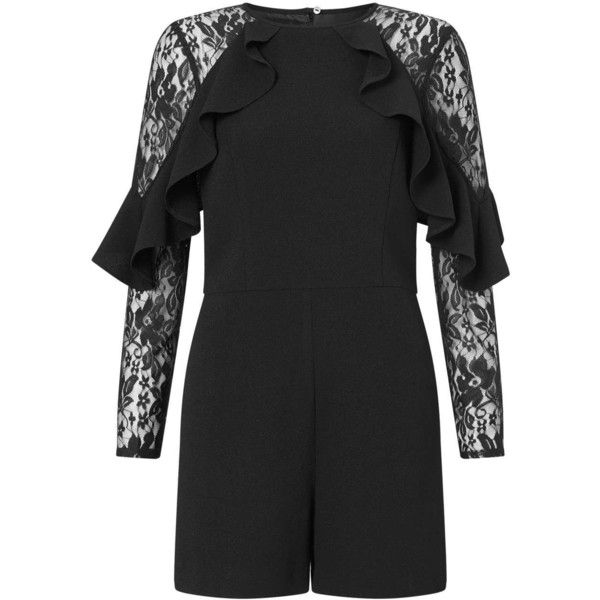 Miss Selfridge Black Lace Ruffle Playsuit ($82) ❤ liked on Polyvore featuring jumpsuits, rompers, black, going out rompers, ruffle romper, playsuit romper, ruffle rompers and lace ruffle romper