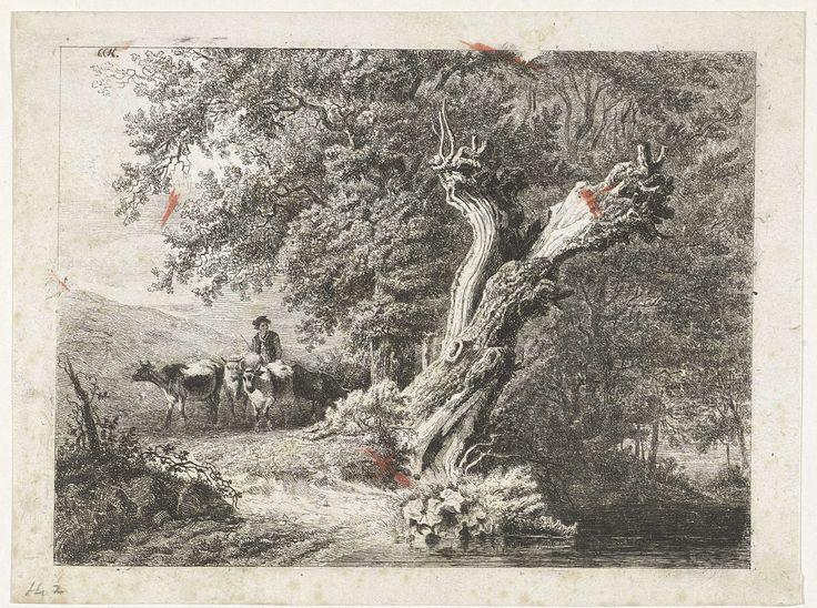 Constantinus Cornelis Huysmans | Landschap met kale boom en herder, Constantinus Cornelis Huysmans, , 1820 - 1886 | Links een herder met koeien, rechts een kale boom aan het water. Verso een deel van de afdruk van een staat van dezelfde prent.