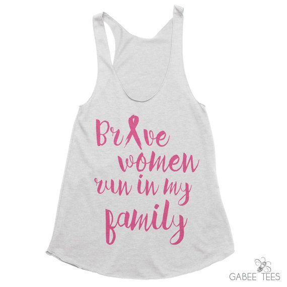Brave Women Run in My Family - Tank | Breast Cancer Awareness | Survivor | Running Top | Race Day Shirt | Motivational & Inspirational Tank from Gabee Tees