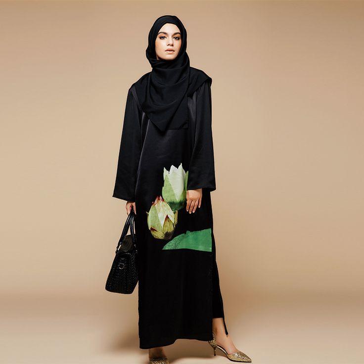 2016 Fashion Muslim Printing Abaya Dubai Islamic Clothing For Women Muslim Abaya Jilbab Djellaba Musulmane Flowers Dress abaya