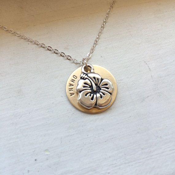 Ohana necklace hibiscus Hawaiian necklace by KrausHausKrafts