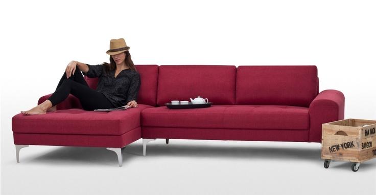 Vittorio, canapé d'angle gauche, rouge carmin
