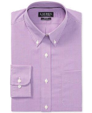 Lauren Ralph Lauren Men's Slim-Fit Stretch Non-Iron Cardinal/White Gingham Dress Shirt - C Cardinal/white 1
