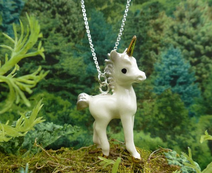 Meow Girl  – Hand painted porcelain Unicorn pendant with gold horn and hoof detail • Available at thebigdesignmarket.com