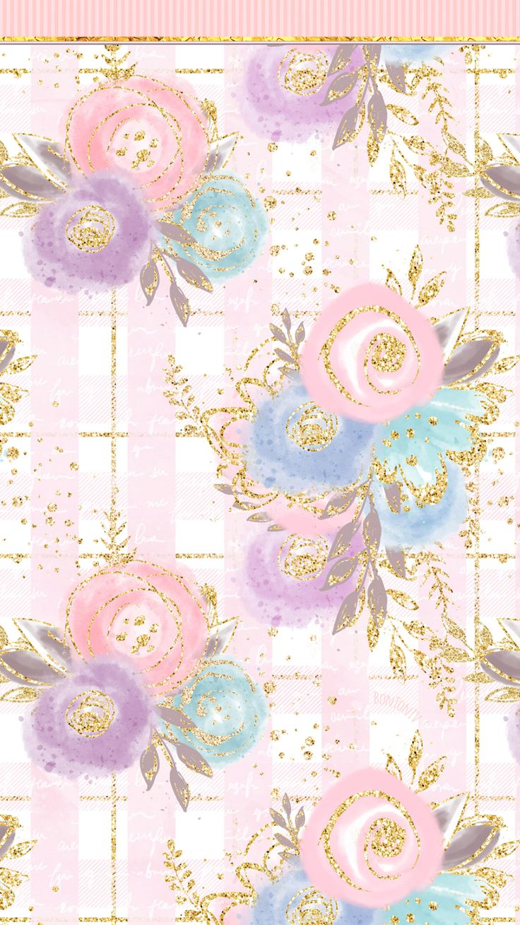 Phone Wallpapers HD Rose Gold Flowers – Watercolor – by BonTon TV – Free Backgro…