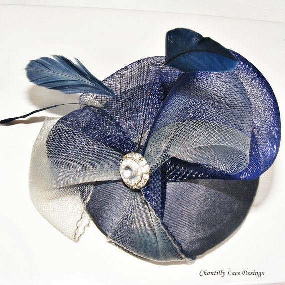 Navy Pewter Crinoline Fascinator by www.ChantillyLaceDesigns.com created in Canada