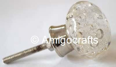 Clear Bubble Glass Cabinet Knob