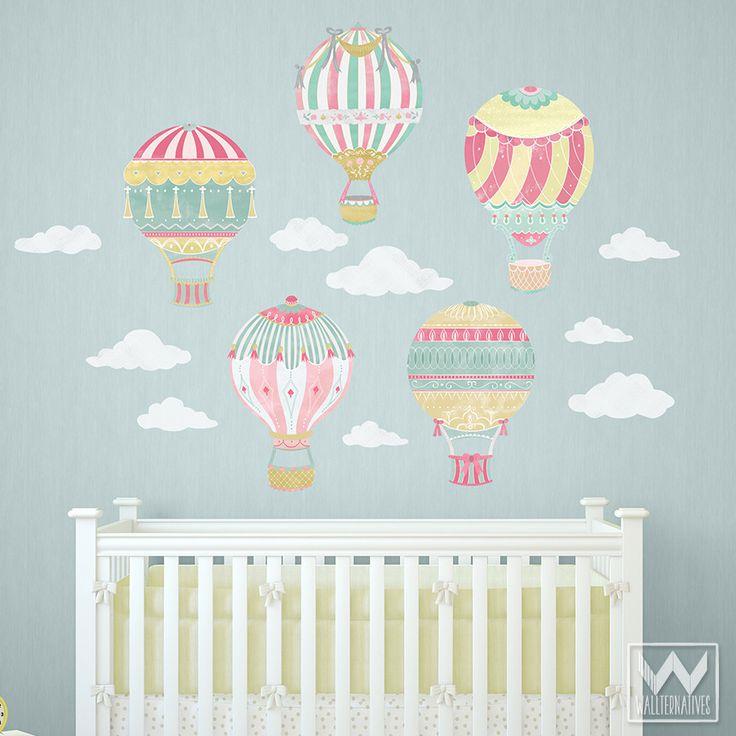 Cute Nursery Decor using Hot Air Balloon Removable Wall Decals from Wallternatives
