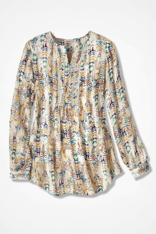 Coldwater Creek Gathering of Feathers Blouse STYLE NUMBER: 13013 COLOR : VANILLA MULTI