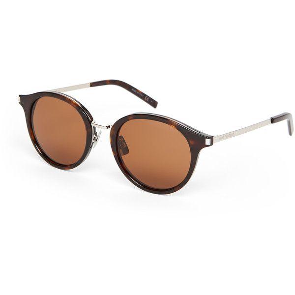 Saint Laurent Havana SL 57 Retro Round Sunglasses ($120) ❤ liked on Polyvore featuring accessories, eyewear, sunglasses, white, retro sunglasses, white rimmed sunglasses, white lens sunglasses, round frame glasses and white retro sunglasses