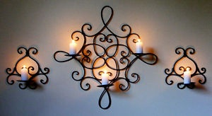 3 Wrought Iron candle holders - 2 hold 1 candle each, 1 (the largest) holds 3