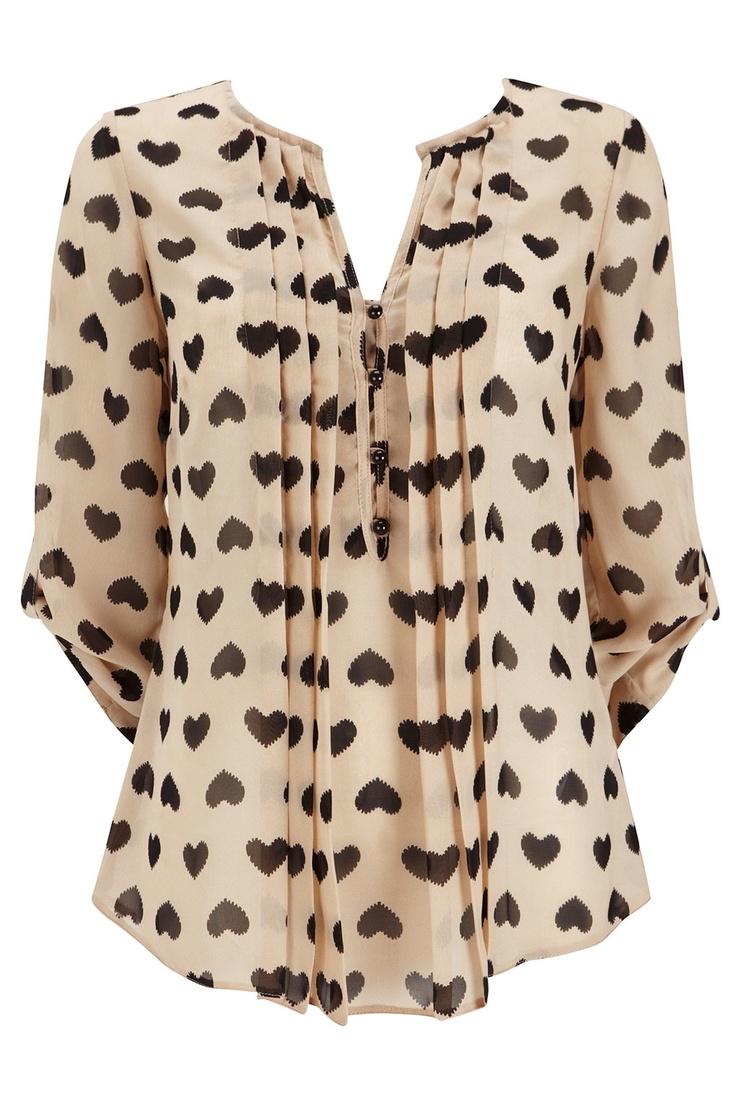 stone heart pleat blouse.: Heart Prints, Polka Dots, Black Heart, Stones Black, Style, Prints Pleated, Pleated Blouses, Stones Heart, Heart Blouses