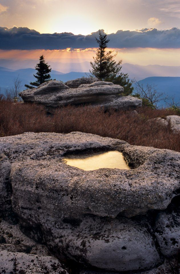 Sunrise as seen from The Nature Conservancy's Bear Rocks Preserve in West Virginia. High above Canaan Valley, in Dolly Sods...