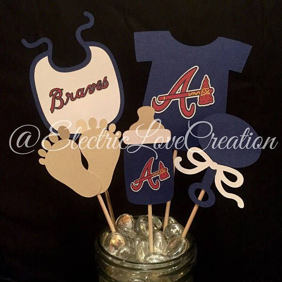 Atlanta Braves Baby Shower Centerpieces Set