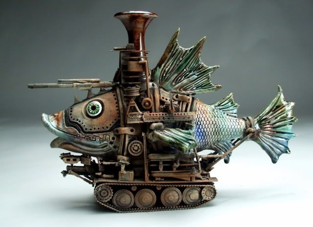 Mitchell Grafton - Medium Fish Tank Ceramic Sculpture