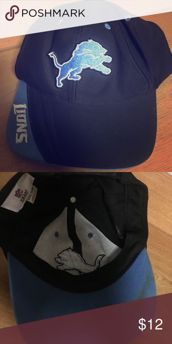 Official NFL Detroit Lions Football Cap Looks brand new on outside  Adjustable  Stain on inside NFL Accessories Hats
