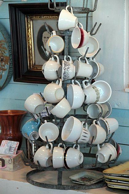 nice way to display coffee cups by coffee pot station