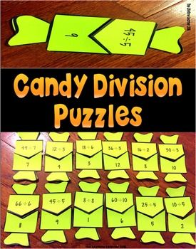 Halloween Division Fact Math Puzzles. Great for math centers!